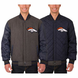 Denver Broncos Jh Design Wool And Leather Reversible Jacket With Embroidered Logos