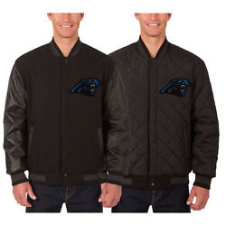 Carolina Panthers Wool And Leather Reversible Jacket With Embroidered Logos Black