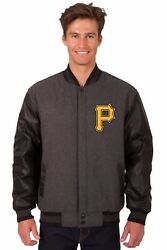 Mlb Pittsburgh Pirates Wool And Leather Reversible Jacket Embroidered Logos Gray