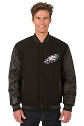 Philadelphia Eagles Jh Design Wool And Leather Reversible Jacket Embroidered Logo