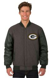 Green Bay Packers Jh Design Wool And Leather Reversible Jacket Embroidered Green