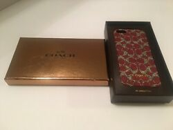 COACH iPhone 55S Cell Phone Case - Authentic COACH Designer Case - RED- Genuine