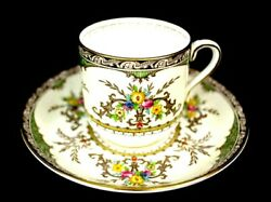 Minton Footed Demitasse Chatham Cup And Saucer S 123 Mint Condition Green Ivory