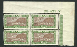 Iceland Stamps 148 Mi 118 50a Green And Brown Plate Block Mnh Vf 1925 Scv 960