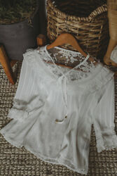 S Pol White And Lace Vintage Style Romantic Top Blouse Small New Nwt Boho