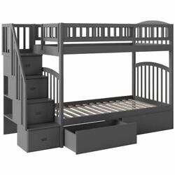 Bowery Hill Solid Wood Staircase Storage Bunk Twin Over Twin In Gray