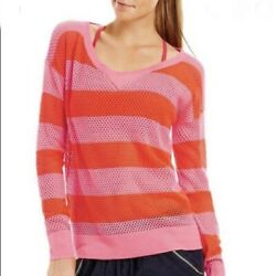 LORNA JANE Womens WILLOW Striped Open Knit Sweater Bright Pink Stripe Size Large