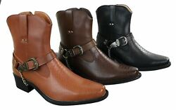 Mens Cowboy Riding Ankle Slip On Boots Western Chain Buckle Belt Pu Leather