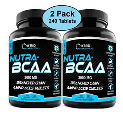 Nutra Bcaa 3000mg Tablets, Pre And Post Workout, Non-gmo, Amino Acids 2-pack