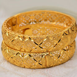 24k Yellow Gold Women#x27;s 16mm Floral Small 7quot; Opening Bracelet w Gift Pkg D793 $19.95