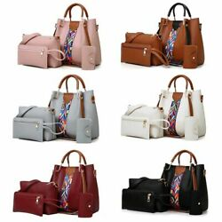 4PCS Set Women Leather Handbag Shoulder Tote Bag Lady Clutch Purse Card Wallets $17.99