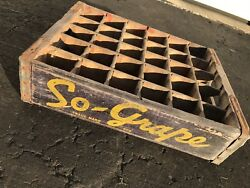 Very Rare Vintage 1940's So-grape Wood Soda Pop Crate 30 Dividers