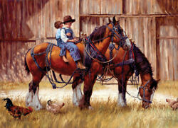 COBBLE HILL 1000 Piece Jigsaw Puzzle BACK TO THE BARN Random Pieces NEW Horses