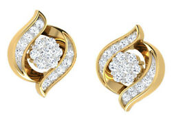 0.75ct Natural Round Diamond 14k Solid Yellow Gold Screw Back Stud Earring