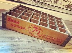 Rare Vintage Ice Cold 76 America's Soft Drink Wood Soda Pop Crate Ft Wayne In