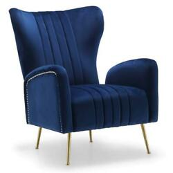Meridian Furniture Opera 17h Velvet Accent Chair In Navy And Gold