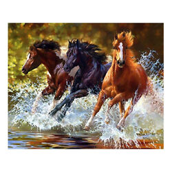 quot;NEWquot; Horses at the Beach 5D DIY DIAMOND PAINTING BY NUMBER KIT 32x42cm Large