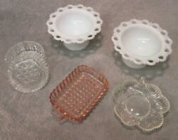 Vintage Glass Candy Dishes - Lot Of 5 White, Milk, Pink, Clear, Lid, Lace Edge
