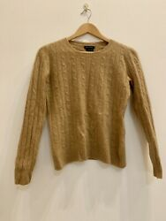 MASSIMO DUTTI Camel Brown 100% Cashmere Round Neck Cable Knit Jumper Size M 12