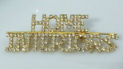 Vintage Home Interiors Brooch Pin Clear Pave Rhinestone Gold Tone Metal Sparkly