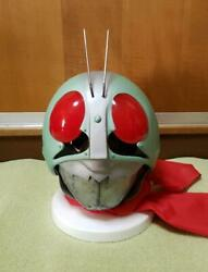 The First Kamen Rider Mask Hongo Takeshi With Mask Stand And Red Scarfe Rare F/s