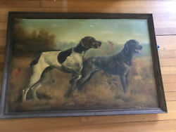 Signed Oil Painting Of German Short Hair Pointer Signed Ginnie Crozier Otis