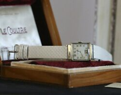 Vintage Jaeger Lecoultre Rare 1940and039s 10k Yg Filled Silver Dial Watch Orig Box
