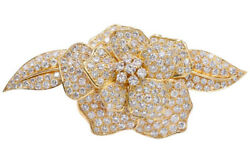 4.26CT NATURAL ROUND DIAMOND 14K SOLID YELLOW GOLD FLORAL BROOCH PIN