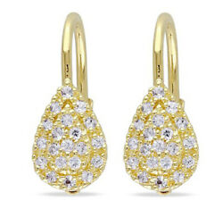 1.43ct Natural Round Diamond 14k Solid Yellow Gold Lever Back Hoops Earring