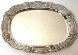 Vintage Good Large Heavy Solid Sterling Silver Tray 46cm 1042g 1973