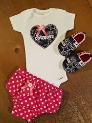 Dallas Cowboys Baby Girl 3 Piece Tailgating Outfit Baby Girl Pink 3-6 Months