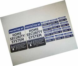 2 Home Security Alarm System Metal Yard Signs And 12 Window Stickers - Stock ...