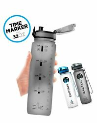 Cactaki 32oz Water Bottle With Time Marker, Bpa Free Water Bottle, Non-toxic,...