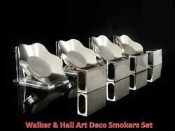 Cased Art Deco Silver Smokers Set Ashtrays Matchbox Covers Walker And Hall 1936