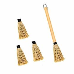 Censmart 18 Inch Bbq Basting Mop 3 Extra Replacement Heads With Natural Wood ...