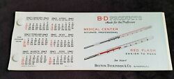 1943 Ad Premium Blotter Becton Dickinson Bd Products Thermometer Celluloid Cover
