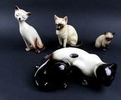 4 PC VTG Coopercraft Other Cat Siamese Cat Figurines Made In England All EUC