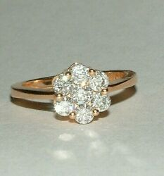 Quality 18 Carat Rose Gold 1.00ct Diamond Flower Cluster Engagement Ring