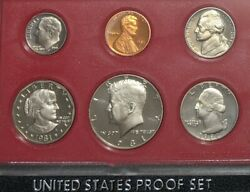 1981-s Proof Set 6-coins In Original Plastic With Outer Black Box - U.s. Mint