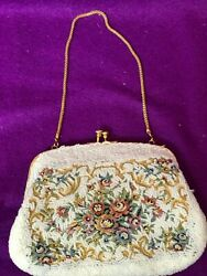 White Tapestry Beads Women Evening Bag Purse Clutch Vintage The Art Bag Chain $15.99