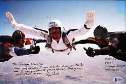 George H.w. Bush Signed And Matted 85th Birthday Skydiving 8x12 Photo Bas A84998