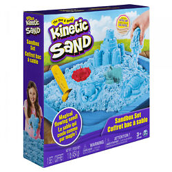 1lb Blue Kinetic Sand Sandbox Playset W/ 3 Molds Play Fun Gift Set Clean Safe