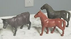 Vintage 1950s Marx Rubber Farm Animals Playset Western Riding Horse Cow