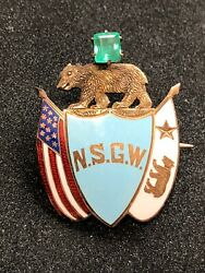 Native Sons Of The Golden West Gold Enamel And Emerald Lapel Pin/brooch