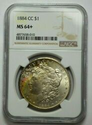 1884-cc Ngc Ms64+ Morgan Silver Dollar Monster Rainbow Natural Toning Gem Bu+