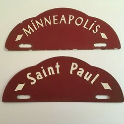 1930s Minneapolis And St Paul License Plate Topper Pair All Original Twin Cities