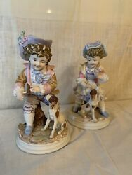 Set of 2 Lefton Figurines Boy amp; Girl with Their Dog