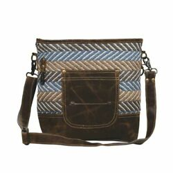 Blue Brown Criss Cross Shoulder Bag Myra Handbag $39.95