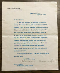 Theodore Roosevelt Signed Letter As President With Fascinating Political Content
