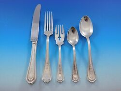 Hepplewhite Eng By Reed And Barton Sterling Silver Flatware Set Service 34 Pcs